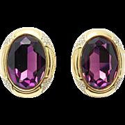 Bold Flashy Purple Swarovski Crystal Earrings