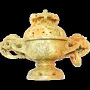 Ornately Carved Chinese Soapstone Urn Or Censer