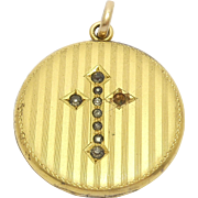 Victorian Gold Filled Locket With Cross