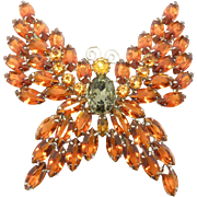 Huge Juliana Butterfly Rhinestone Brooch 3.5 Inches