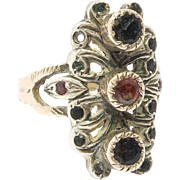 Ornate Antique Silver Filigree Gemstone Ring