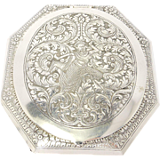 Large Ornate Engraved 900 Silver Siam Compact 77 Grams