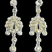 Fancy Long Chandelier Rhinestone Earrings By Coro
