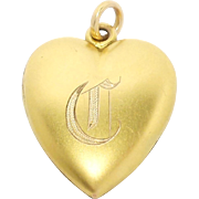 Victorian Gold Filled Puffy Heart Locket Pendant