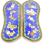 Meiji Period Japanese Cloisonne Enamel Butterflies Buckle