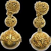 Ornate Filigree Gilt Brass Earrings Butler & Wilson Runway