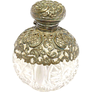 Sterling Overlay Perfume Bottle 1902 Henry Mathews Cut Crystal