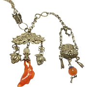 Ornate Chinese Silver Coral Repousse Carnelian Necklace