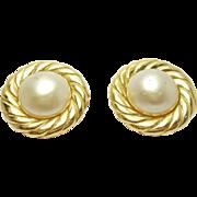 Vintage Gold Tone Chanel Paris Earrings