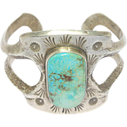 Amazing Sandcast Silver Signed Turquoise Navajo Cuff Bracelet