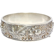 Gorgeous Repousse Silver Ornate Floral Wide Bangle