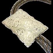 Vintage Signed Engraved Sterling Bolo Tie