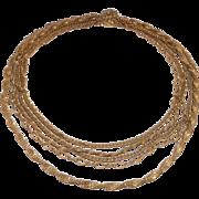 Fun Vintage Gilt Brass Miriam Haskell Multi Chain Necklace