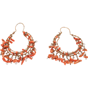 Antique Gold Filled Branch Coral Hoop Earrings