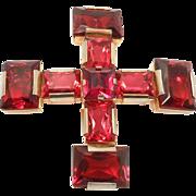 Bold Cranberry Austria Brooch Crystals Pendant Bale