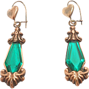 Victorian Gold Filled Emerald Crystal Drop Earrings