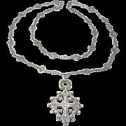 Antique Ornate Silver Chain Peruzzi Style With Cross Pendant 800 Silver