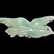 Carved Vintage Jade Sterling Bird Brooch Pin Elegant