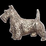 Vintage Retro Sterling Scottish Terrier Brooch Detailed
