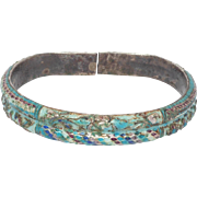 Early Chinese Qing Enameled Silver Bangle Bracelet Ornate