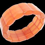 Natural Honey Amber Stretch Bracelet Art Deco 32 Grams