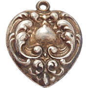 Sterling Victorian Repousse Heart Charm Pendant