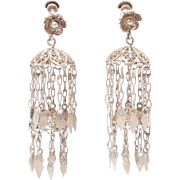 Fun Vintage Ethnic Silver Filigree Tiered Dangle Earrings