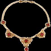 Elegant Ruby Crystal Filigree Deco Necklace