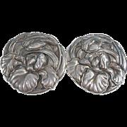 Repousse Meiji Double Iris Repousse Silver Brooch Beautiful