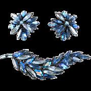 Flashy Cobalt Rhinestone Regency Brooch & Earrings Set