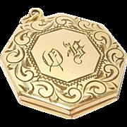 Deco Octagonal Engraved Gold Filled Locket Elegant