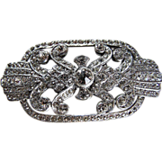 Elegance ~ Crystal On 12K White Gold Plating (Tested & Marked) Brooch With Vintage Perfection & Flair