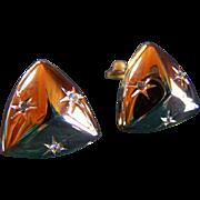 SALE Vintage Geometric Rhinestone Earrings ~ Gold Tone Metal With Clear Rhinestones ~ Circa ..
