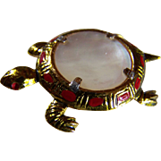 10KT GP TURTLE Brooch/Clip ~ Vintage Earthy Mother Of Pearl Turtle Brooch/Clip