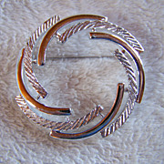 SALE REDUCED ~ SARAH COVENTRY ~ Vintage Modernistic Circle Brooch ~ Textured & Smooth Silver .