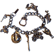 CHARM BRACELET ~ Vintage Western Theme ~ 9 Sterling Silver Rompin' Stompin' Western Charms