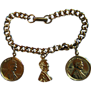 LINCOLN CHARM BRACELET ~ Vintage Abraham Lincoln Penny Charm Bracelet With Bust & Coins