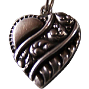 Sterling Silver ~  Repousse FLORAL & SCROLL Charm ~ Adorable Vintage Charm