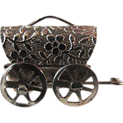 Vintage Ornate 14KT GF Fancy Covered Wagon  ~ Movable Wheels