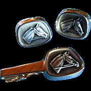 SALE ANSON 14KT GP Horse Head Tie Bar Clasp/Clip & Cufflinks ~