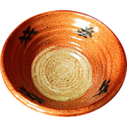 SALE S. GUMP ~ EarthenWare Oriental Soup, Rice Or Serving Bowl ~ Black Oriental Markings ...