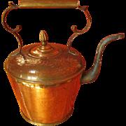 SALE Art Deco Copper & Brass Goose Neck COFFEE/TEA KETTLE ~ Great Vintage Condition