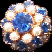 SALE Vintage 12KTGP PEARL & BLUE CRYSTAL Peak Or Wedding Cake Cocktail Ring  ~ Runway Ring ...