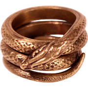 Antique Art Nouveau Brass Snake Ring Size 11 Man's Ring