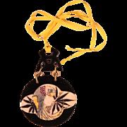 French Art Deco Large Bakelite Pendant Necklace 1920's Jewelry