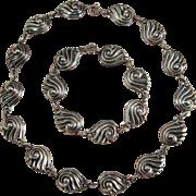 Vintage Danecraft Sterling Silver Choker Necklace and Bracelet Stylized Shell Links