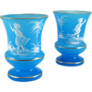SOLD Pair Blue Opaline West German Bristol Style Vases with Mary Gregory Style Decoration