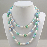 Vintage Pastel Blue Green Peach White Glass Bead Necklace