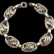 Vintage Danecraft Sterling Silver Leaf Links Bracelet