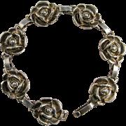 Sterling Silver Rose Links Bracelet